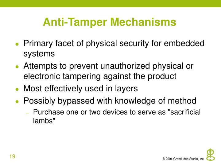Anti-Tamper Mechanisms