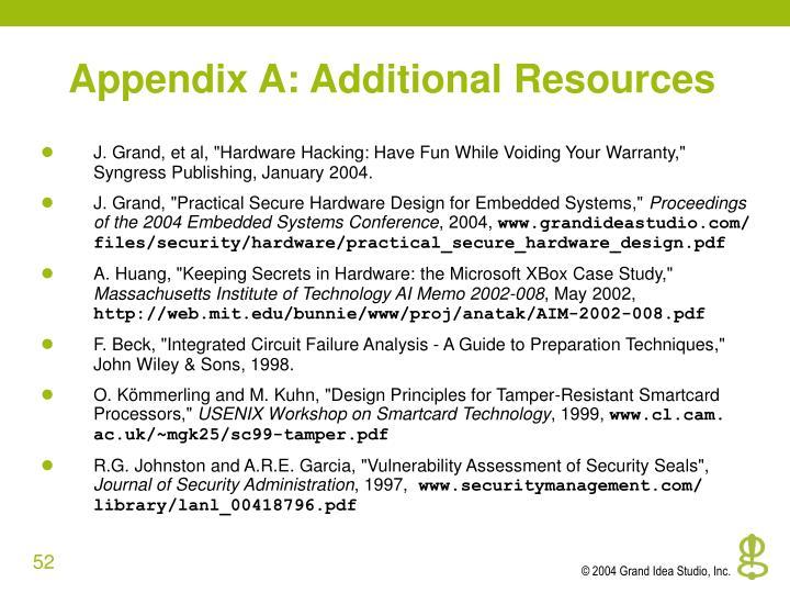 Appendix A: Additional Resources