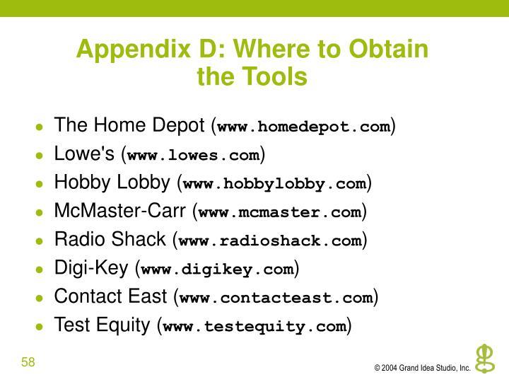Appendix D: Where to Obtain