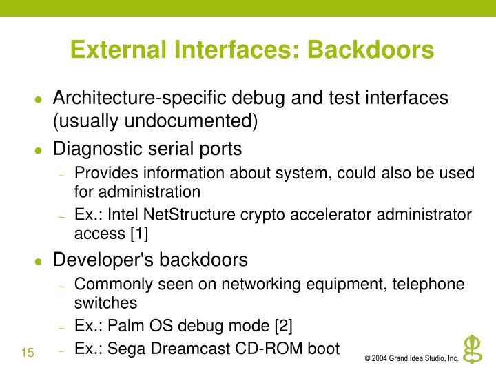 External Interfaces: Backdoors