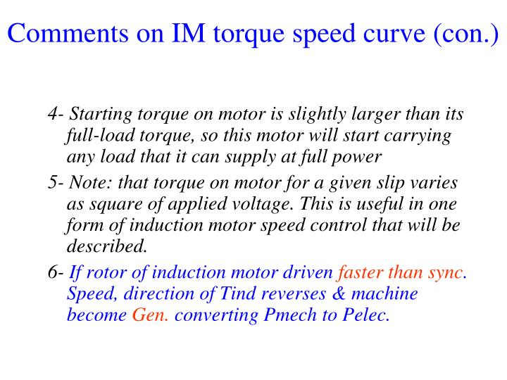 Comments on IM torque speed curve (con.)