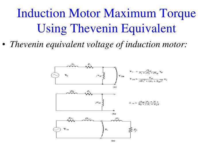 Thevenin equivalent voltage of induction motor: