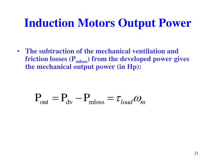 Induction Motors Output Power