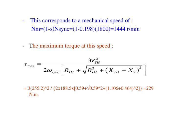 -    This corresponds to a mechanical speed of :