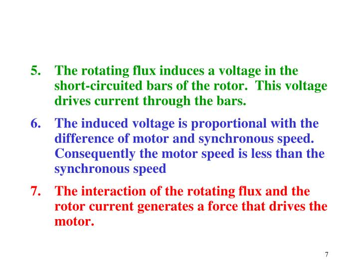 The rotating flux induces a voltage in the short-circuited bars of the rotor.  This voltage drives current through the bars.