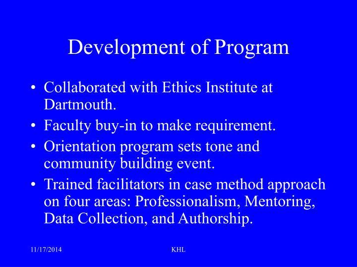 Development of Program