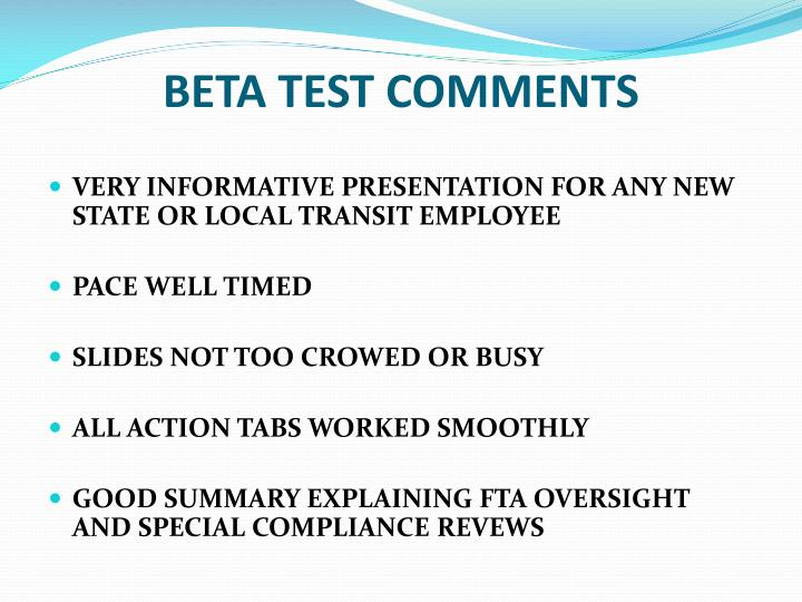 BETA TEST COMMENTS