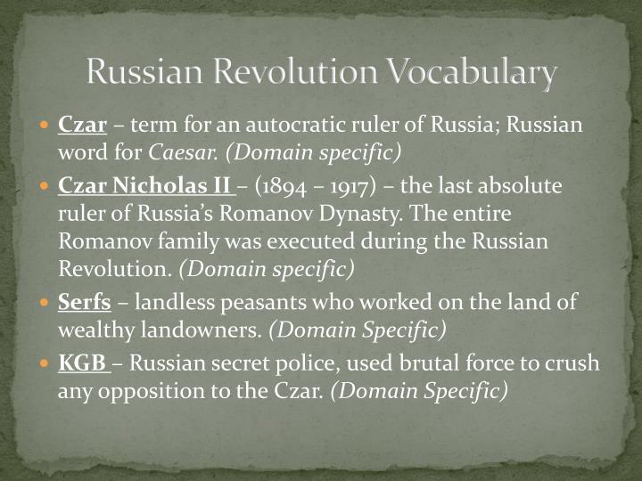 Russian Revolution Vocabulary