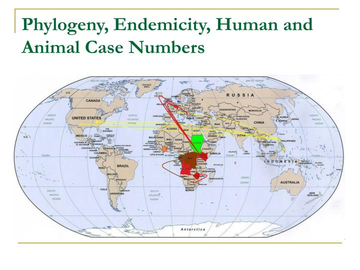 Phylogeny, Endemicity, Human and Animal Case Numbers