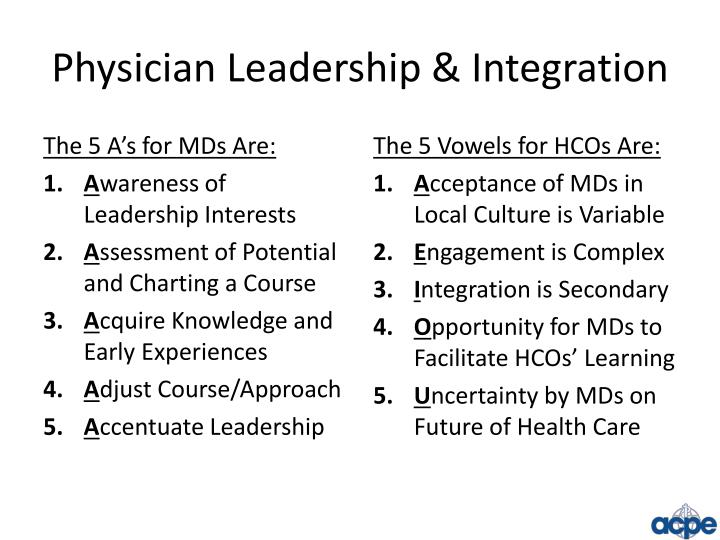 Physician Leadership & Integration