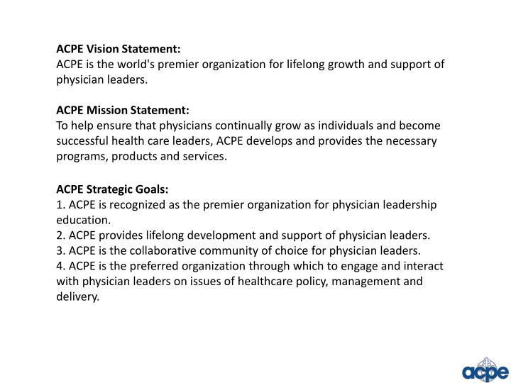 ACPE Vision Statement: