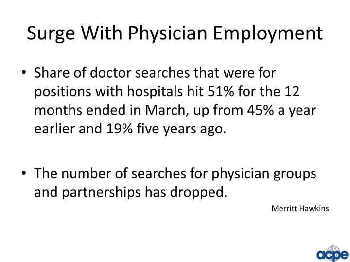 Surge With Physician Employment