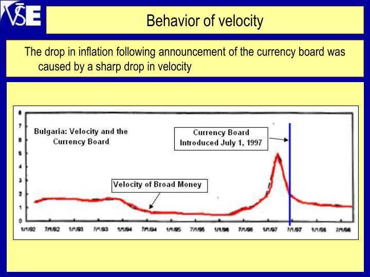 Behavior of velocity
