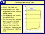 development of the crisis