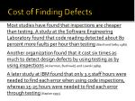 cost of finding defects