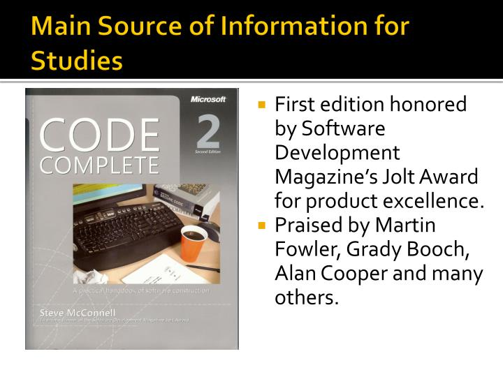 Main Source of Information for Studies