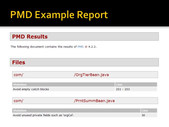 PMD Example Report