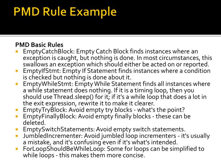 PMD Rule Example