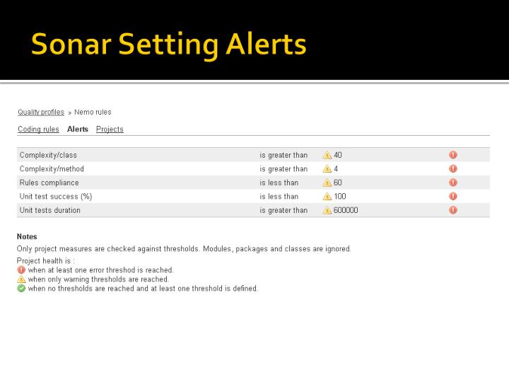 Sonar Setting Alerts