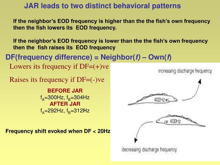 JAR leads to two distinct behavioral patterns