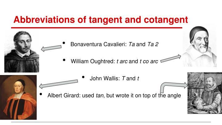 Abbreviations of tangent and cotangent