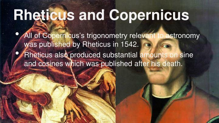 Rheticus and Copernicus
