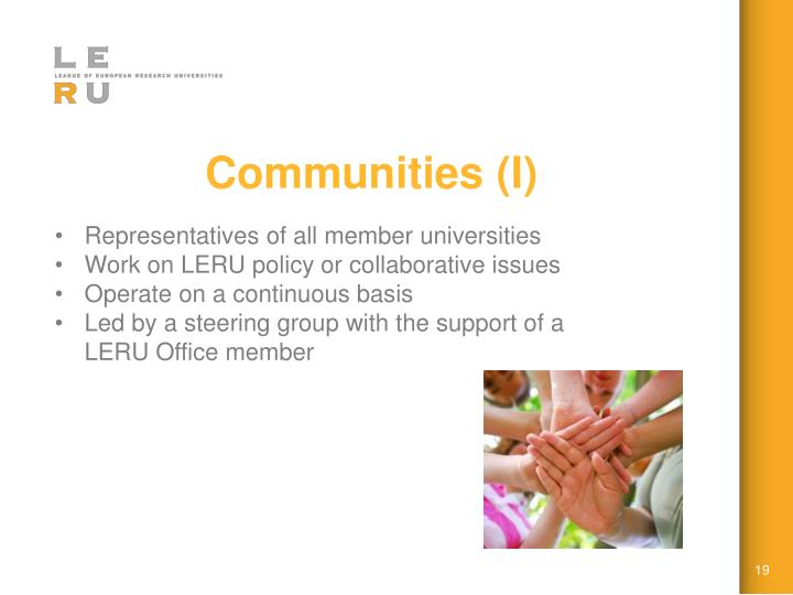 Communities (I)