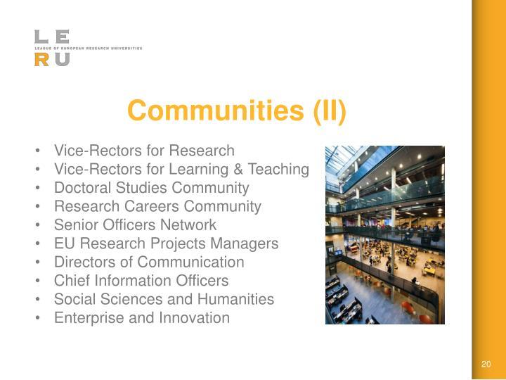 Communities (II)