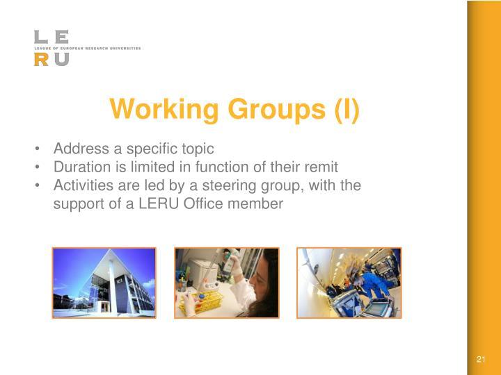 Working Groups (I)