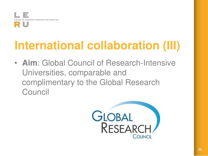 International collaboration (III)
