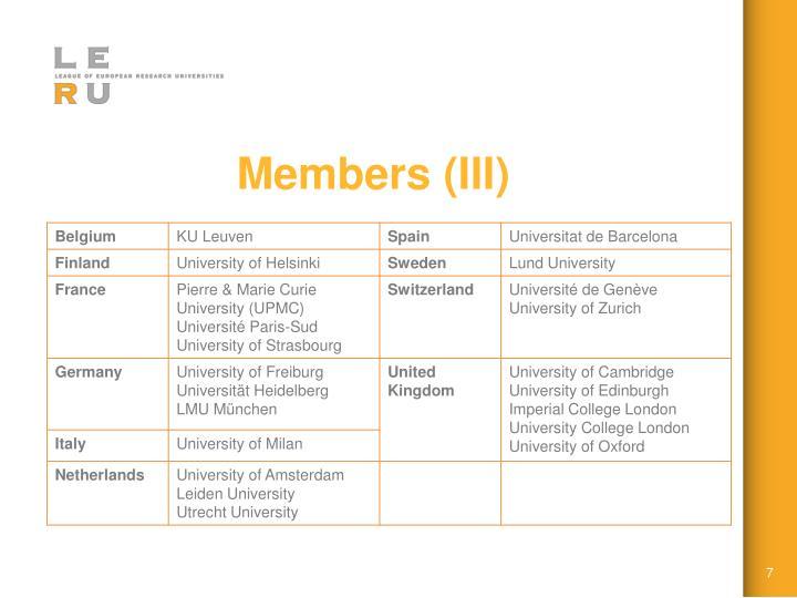 Members (III)