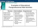 examples of educational paraprofessional aide activities