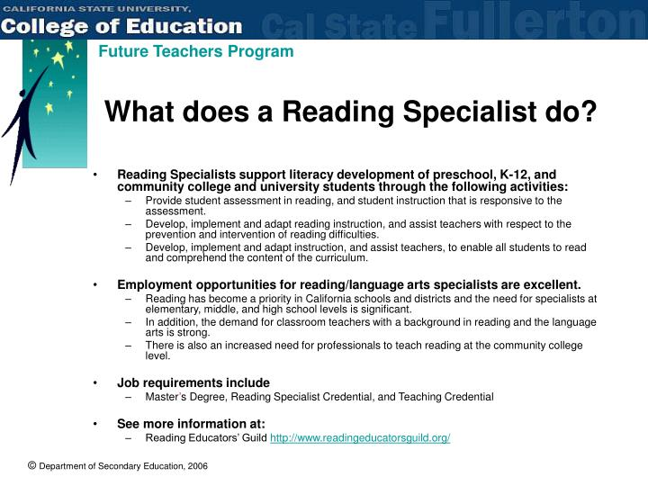 What does a Reading Specialist do?