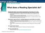 what does a reading specialist do