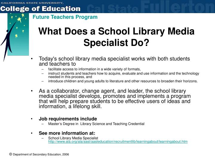 What Does a School Library Media Specialist Do?