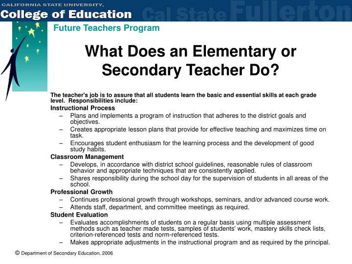What Does an Elementary or Secondary Teacher Do?