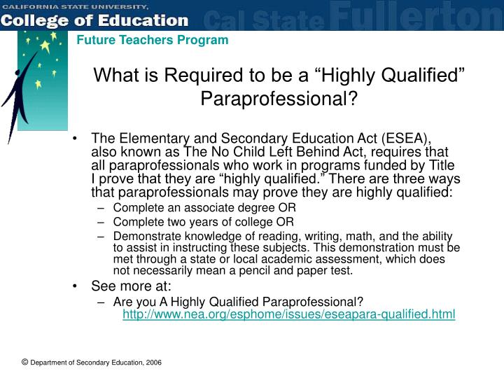 "What is Required to be a ""Highly Qualified"" Paraprofessional?"