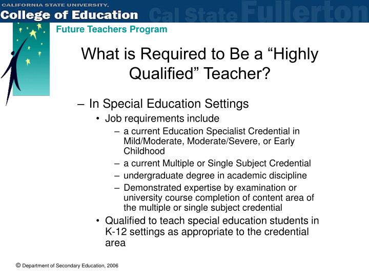 "What is Required to Be a ""Highly Qualified"" Teacher?"