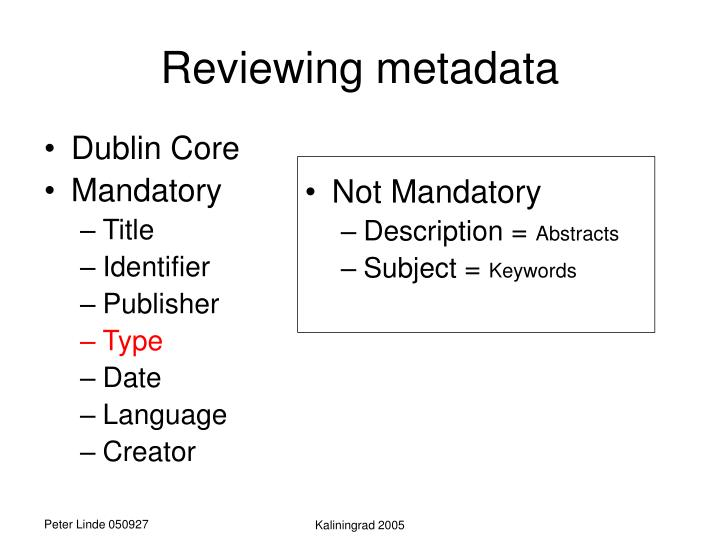 Reviewing metadata