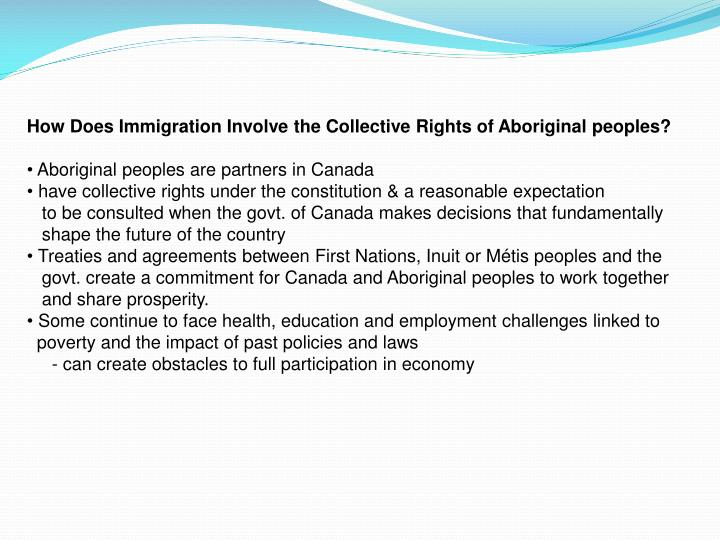 How Does Immigration Involve the Collective Rights of Aboriginal peoples?