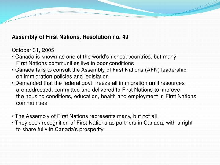 Assembly of First Nations, Resolution no. 49