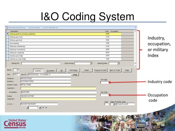 I&O Coding System