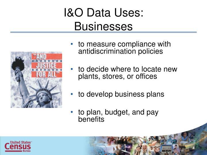I&O Data Uses: