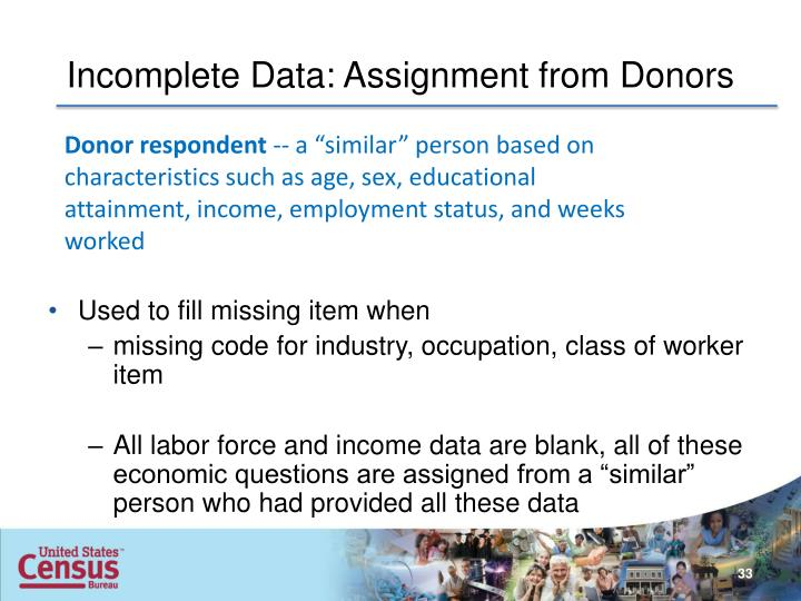 Incomplete Data: Assignment from Donors