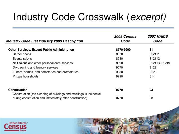 Industry Code Crosswalk (