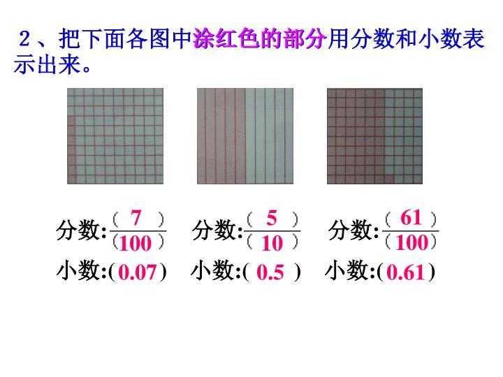 2、把下面各图中涂红色的部分用分数和小数表示出来。