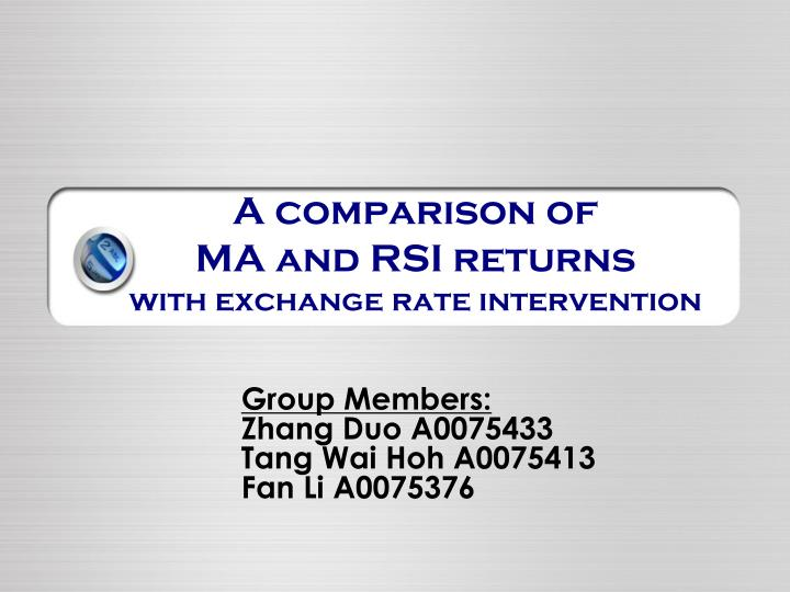 a comparison of ma and rsi returns with exchange rate intervention