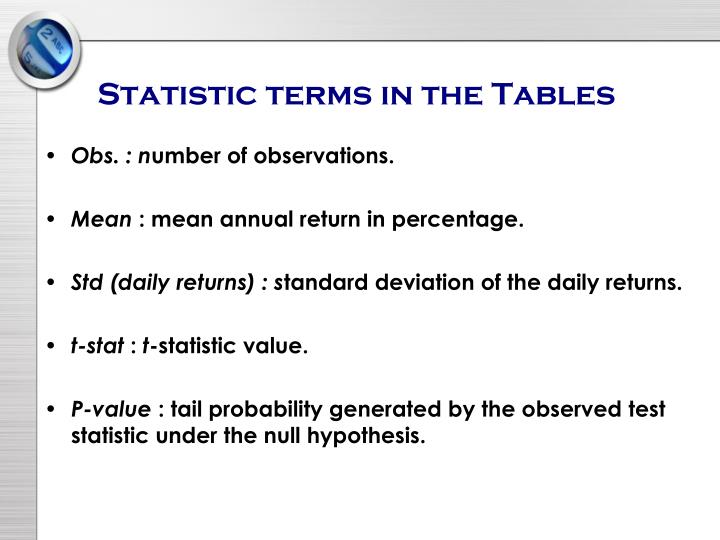 Statistic terms in the Tables