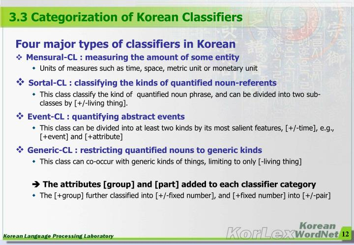3.3 Categorization of Korean Classifiers