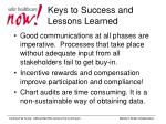 keys to success and lessons learned